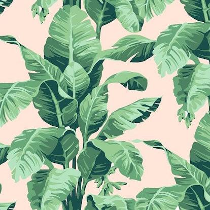 "WallShoppe Tropical Leaf Print Wallpaper, 27""X39"""