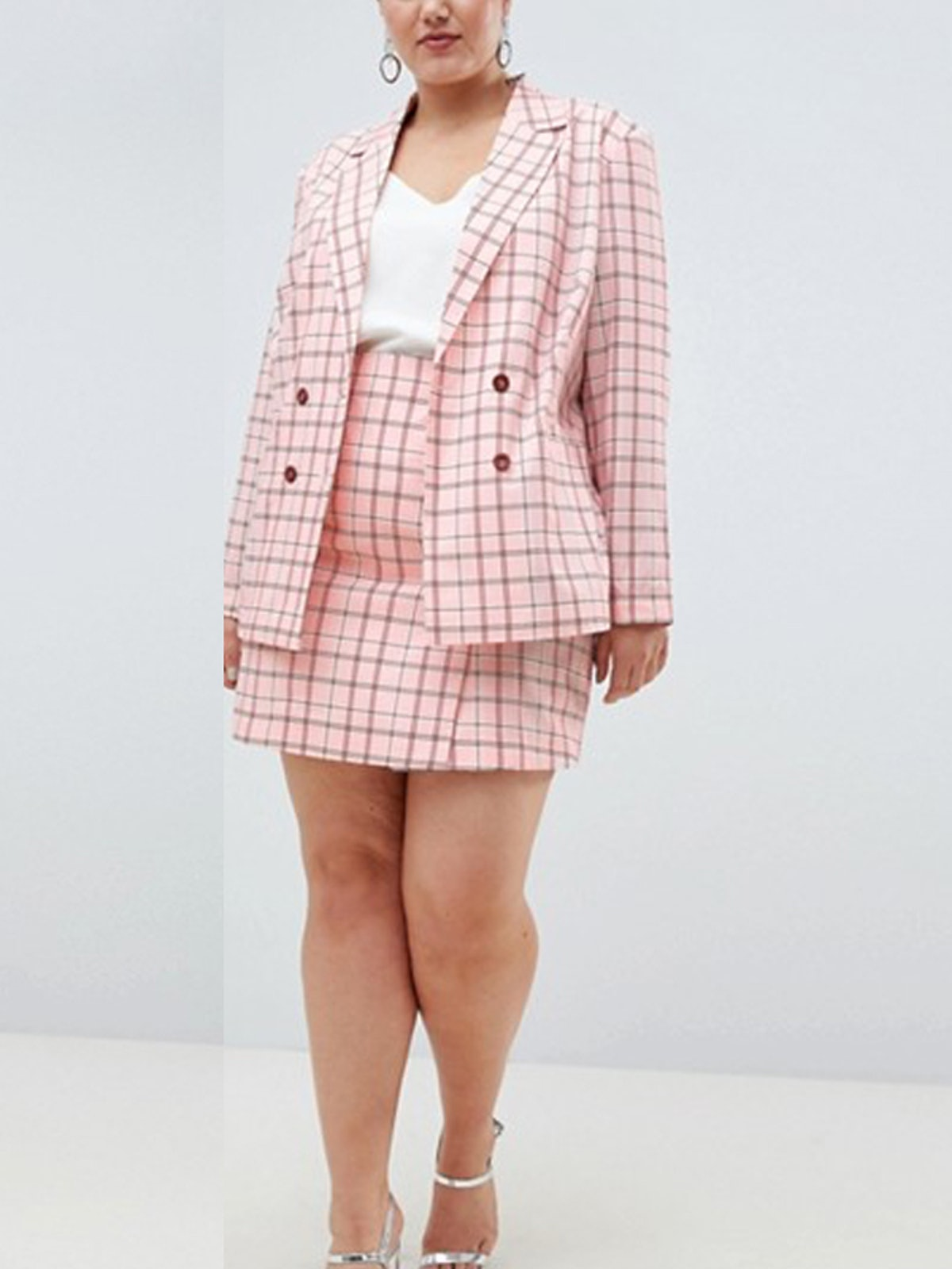 Two-Piece Double Breasted Blazer In Pink Check