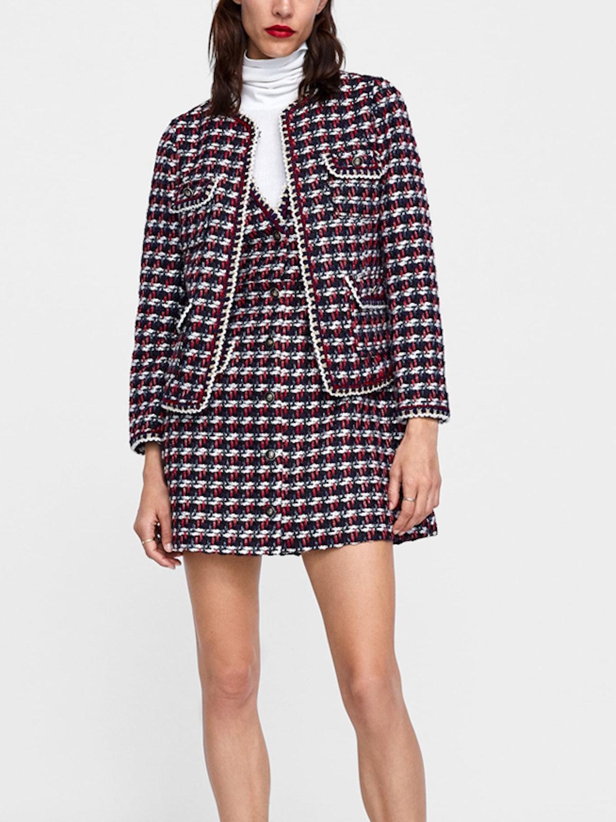 Textured Weave Blazer With Trim