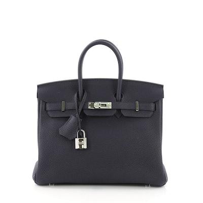 Hermes Birkin Handbag Bleu Nuit Togo with Palladium Hardware 25