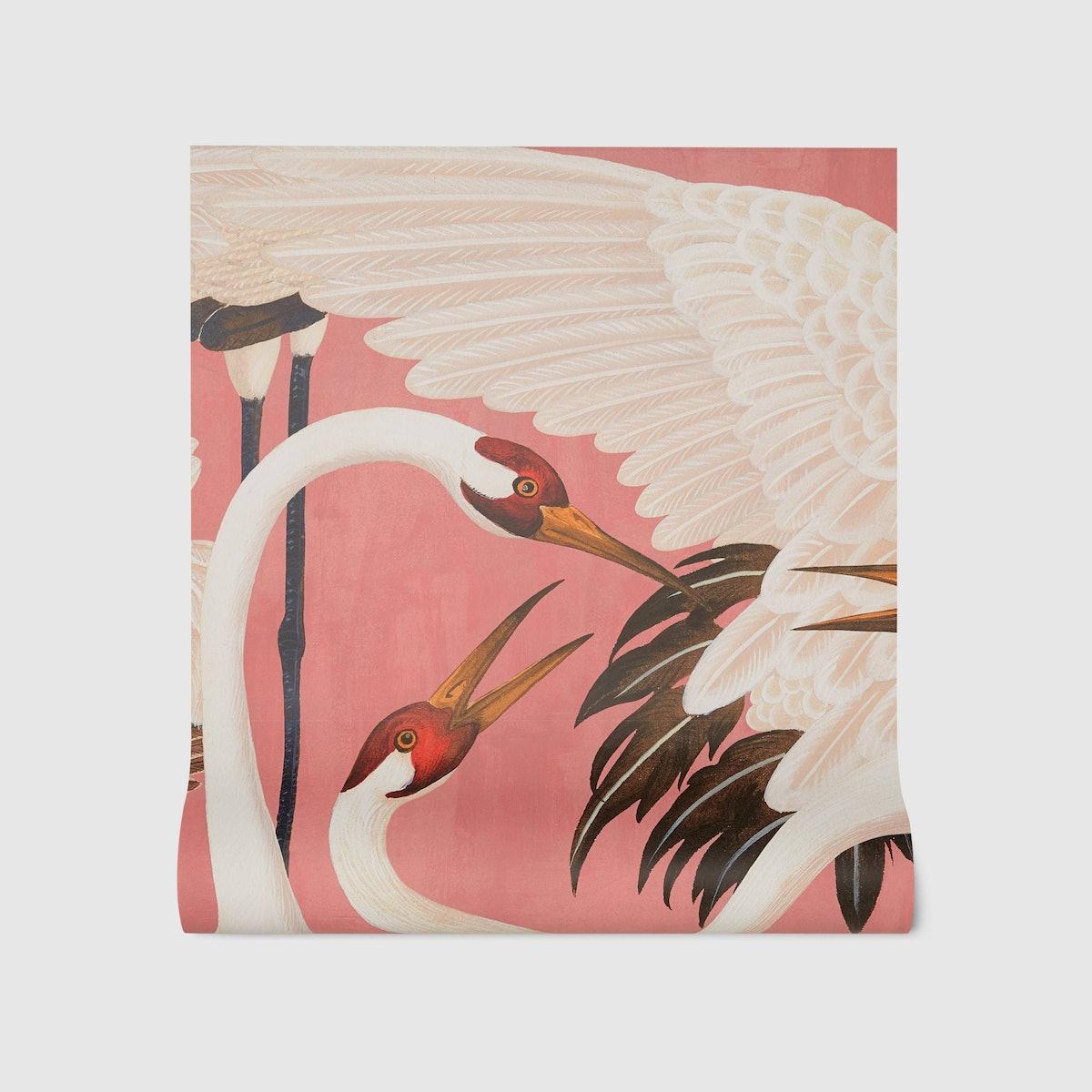 Heron Print Wallpaper (2 panels, W2.25ft x H11.5ft)