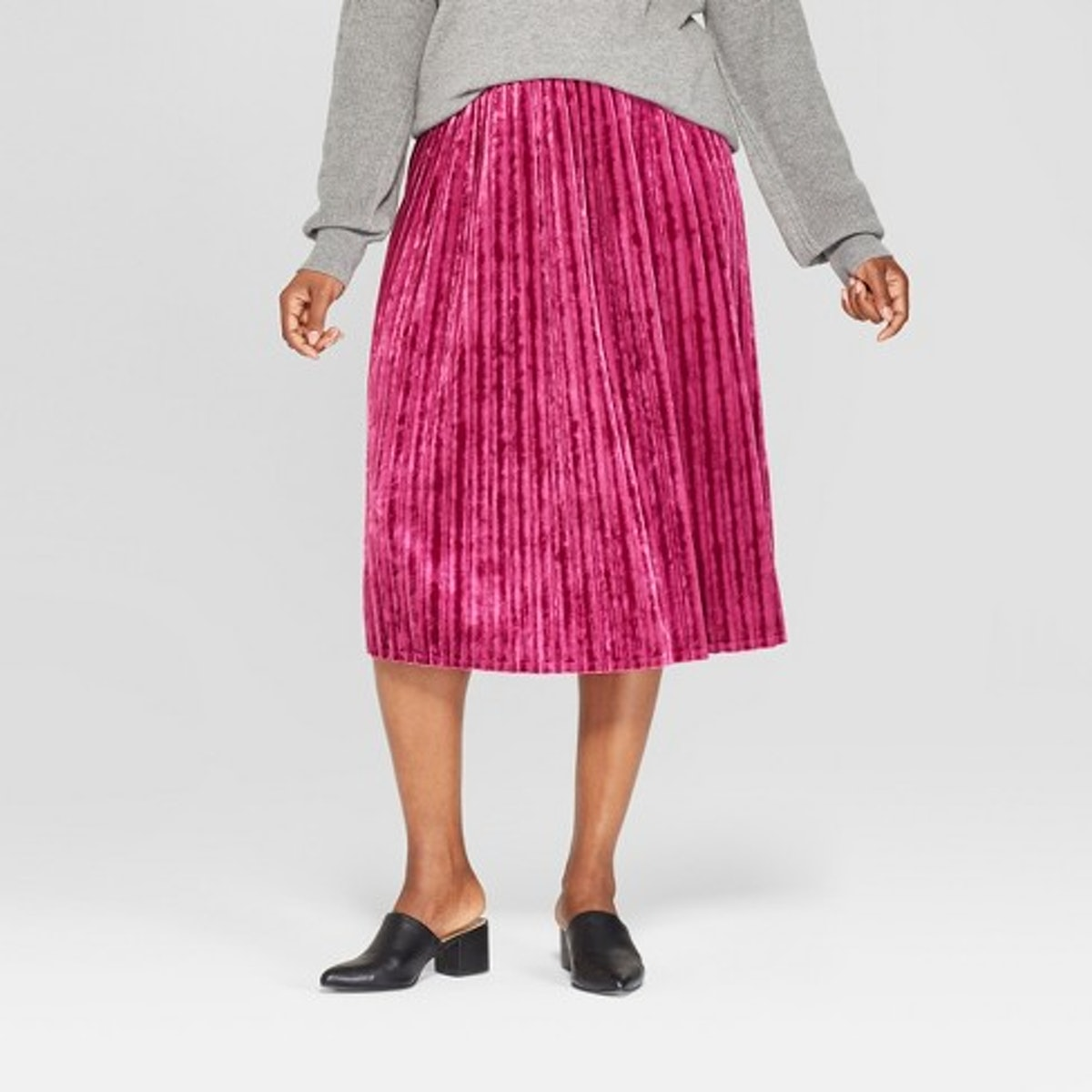 Women's Plus Size Pleated Velvet Skirt - Ava & Viv™