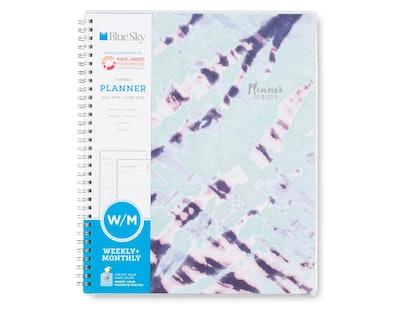 """2018-19 Academic Planner 8.5"""" x 11"""" Blue & Purple Tie Dye - Blue Sky"""