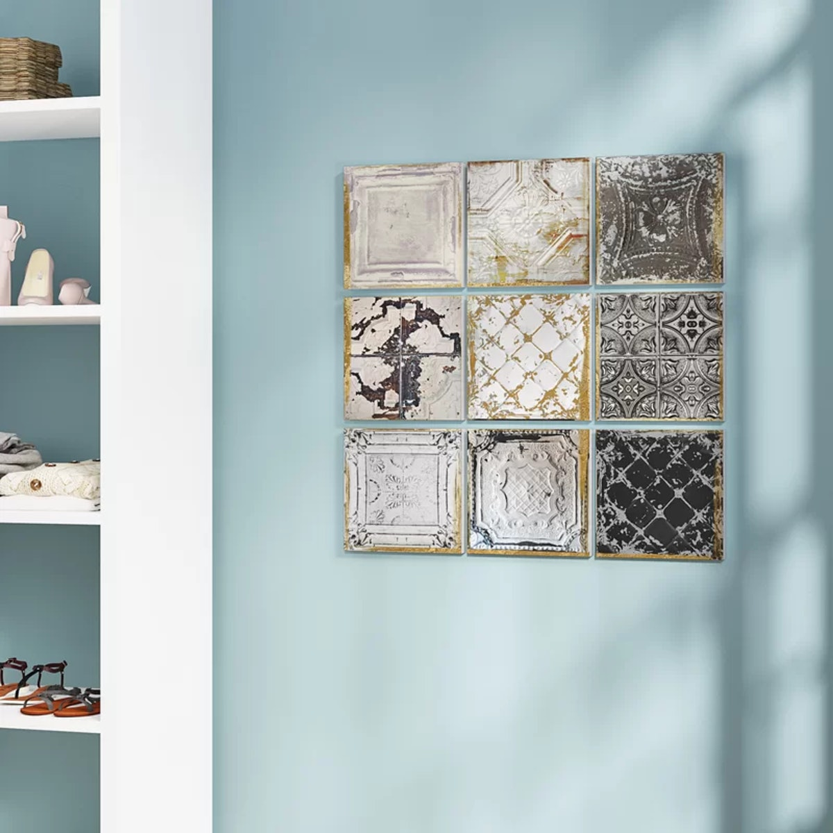 Rosdorf Park Vintage Tin Tiles 9 Piece Canvas Wall Art Set