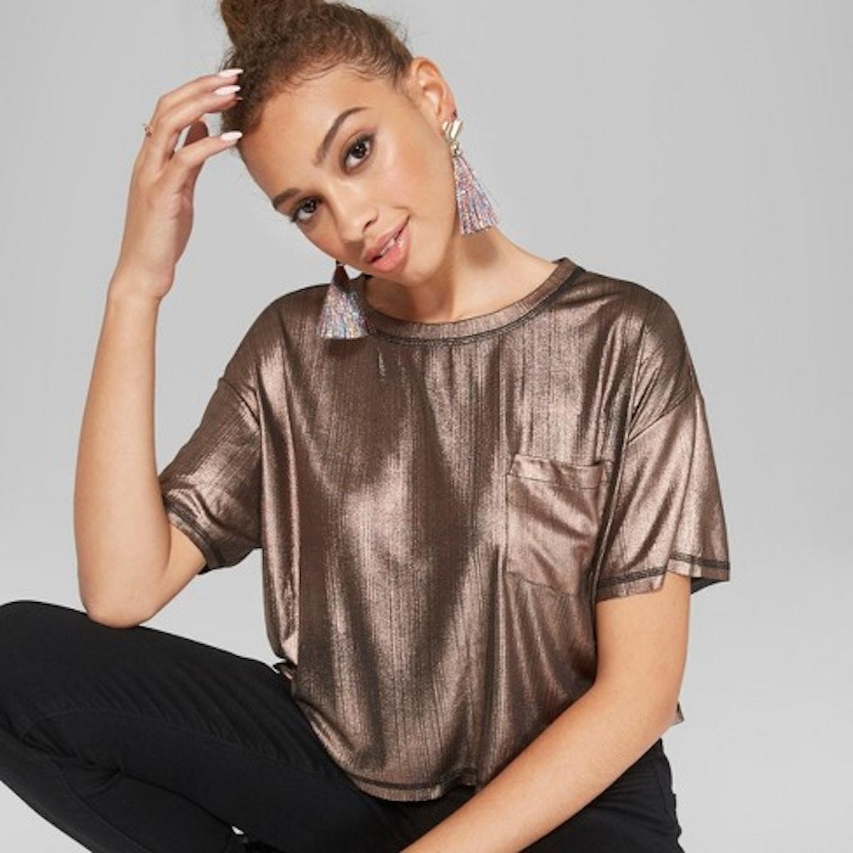 Women's Short Sleeve Shine Boxy T-Shirt - Wild Fable™