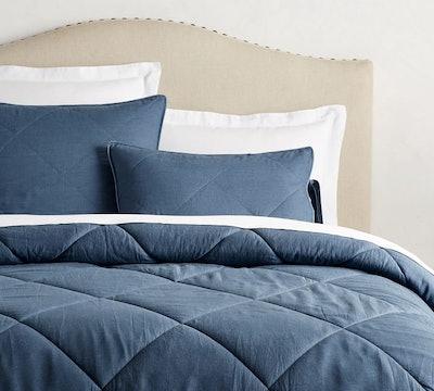 Rustic Luxe Linen/Silk Comforter, Full/Queen, Stormy Blue