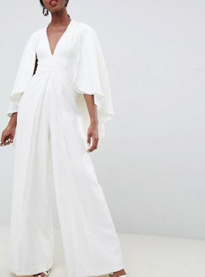 Tall Cape Wedding Jumpsuit