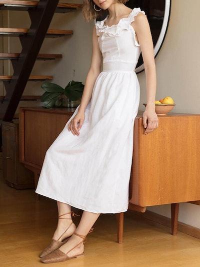 White Ruffle Trim Midi Dress