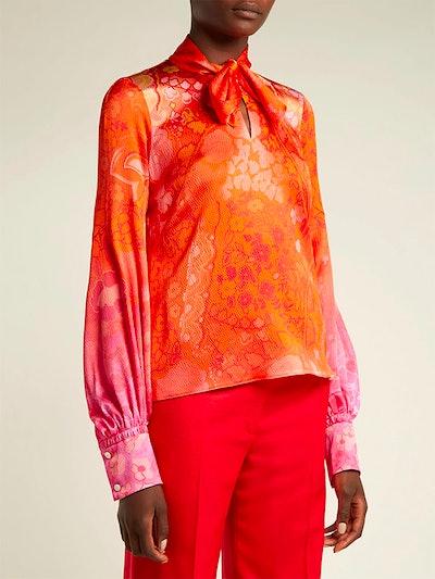 Floral-Print Hammered Silk-Blend Blouse