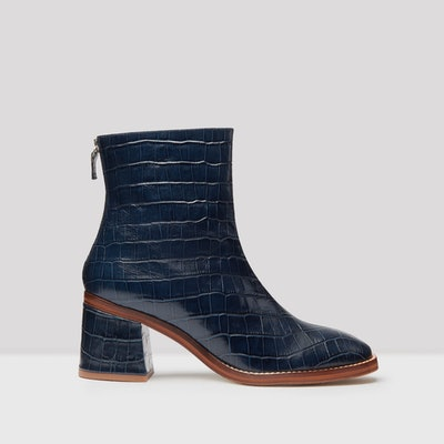 Cybil Navy Croc Glossed Leather Boots
