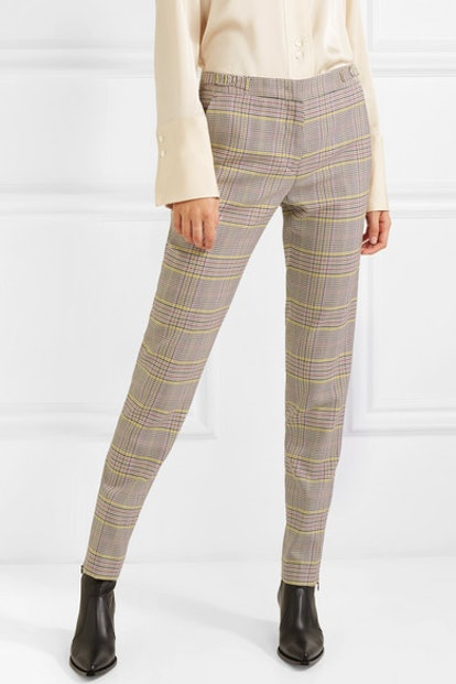 Lisa Plaid Wool-Blend Skinny Pants