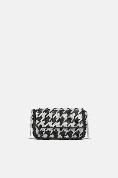 Two-Tone Beaded Crossbody Bag
