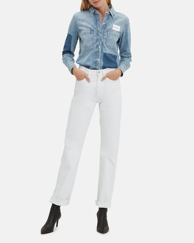 High-Rise Straight White Jeans