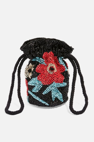 Floral Drawstring Cross Body Bag