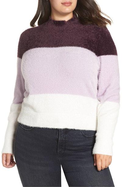 Fluffy Mock Neck Striped Sweater