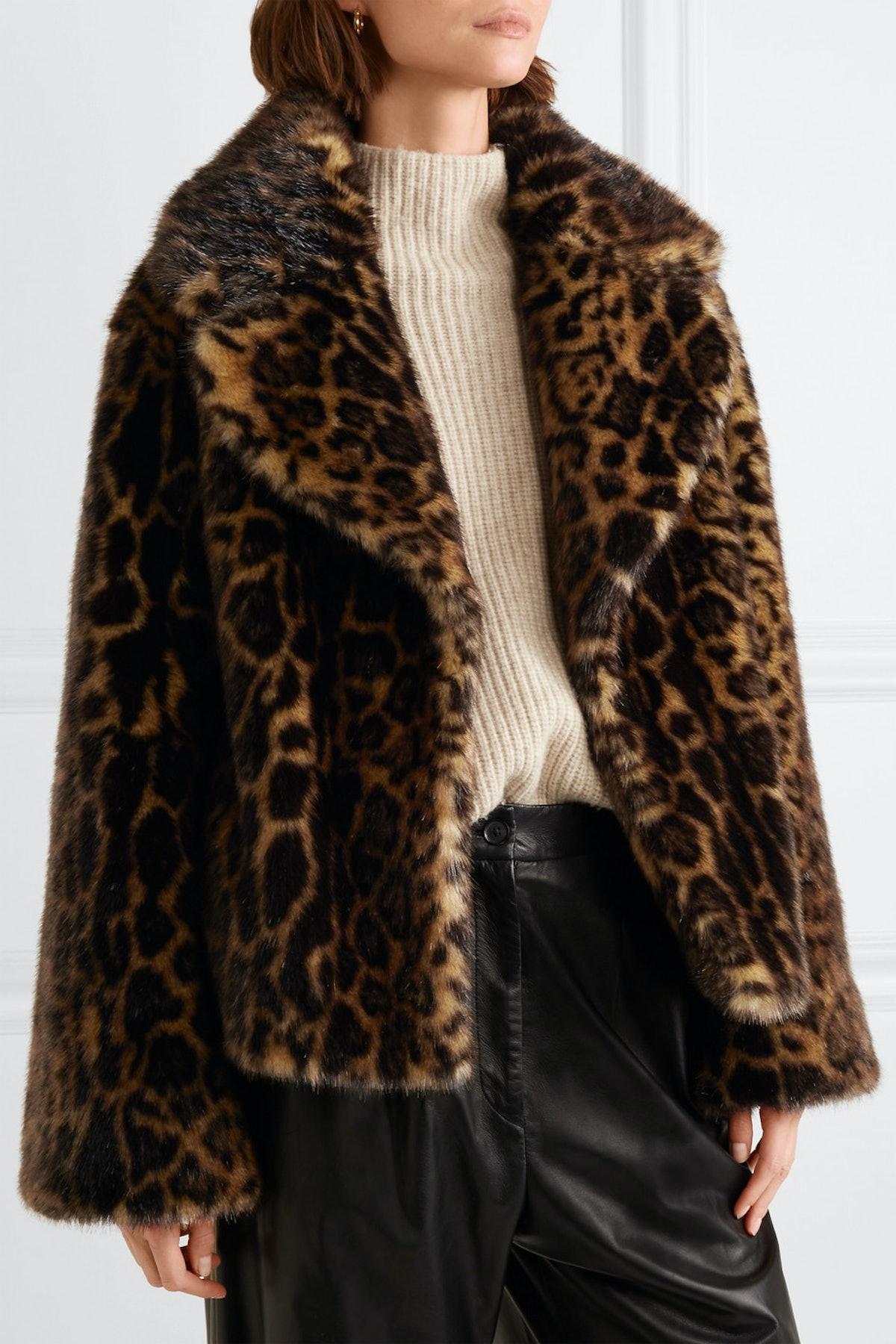 Sedella Leopard-Print Faux Fur Coat