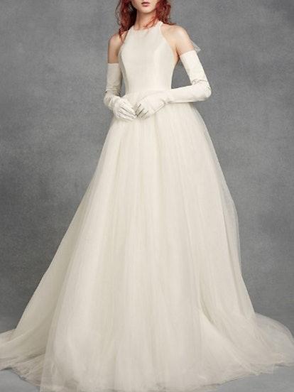 Bow-Back Halter Wedding Dress