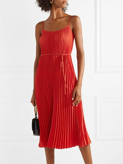 Crinkled Plissé-Crepe Midi Dress