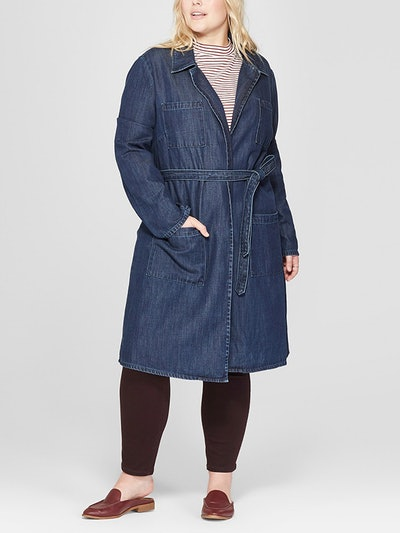 Women's Plus Size Denim Trench Coat