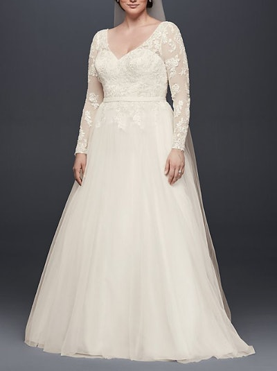 V-Neck Long Sleeve Wedding Dress With Low Back