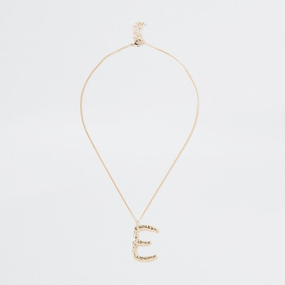 Gold Tone Large Initial 'E' Necklace