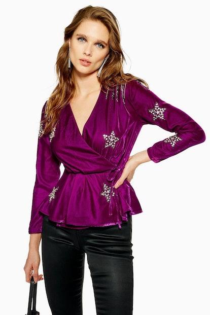 PETITE Velvet Embellished Star Wrap Blouse