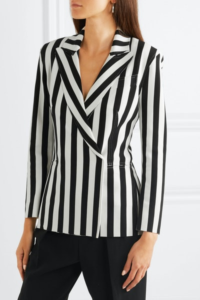 Double-Breasted Striped Stretch-Jersey Blazer