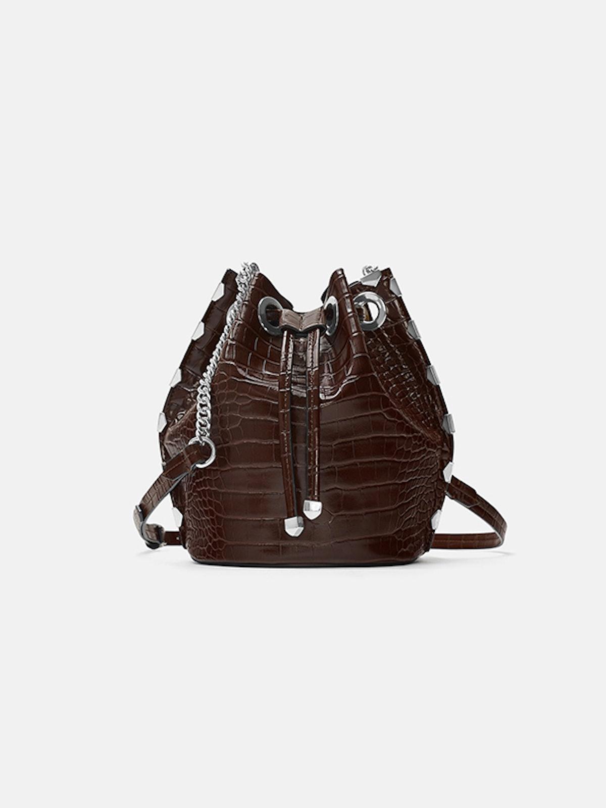 Mock Croc Bucket Bag