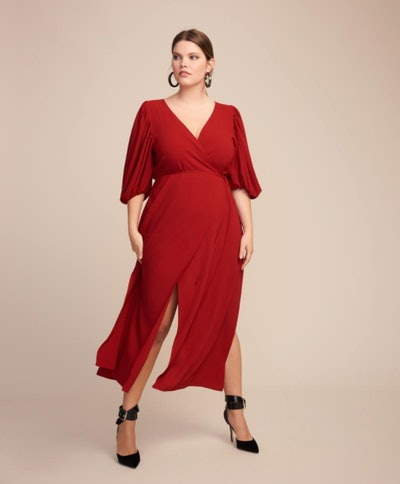 JC Obando Cady Tulip Sleeve Wrap Dress
