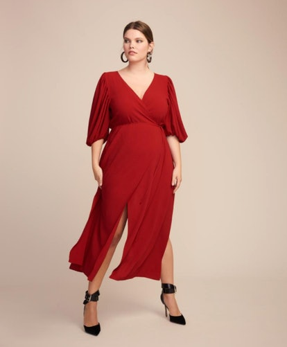JC Obando Cady Tulip Sleeve Wrap Dress