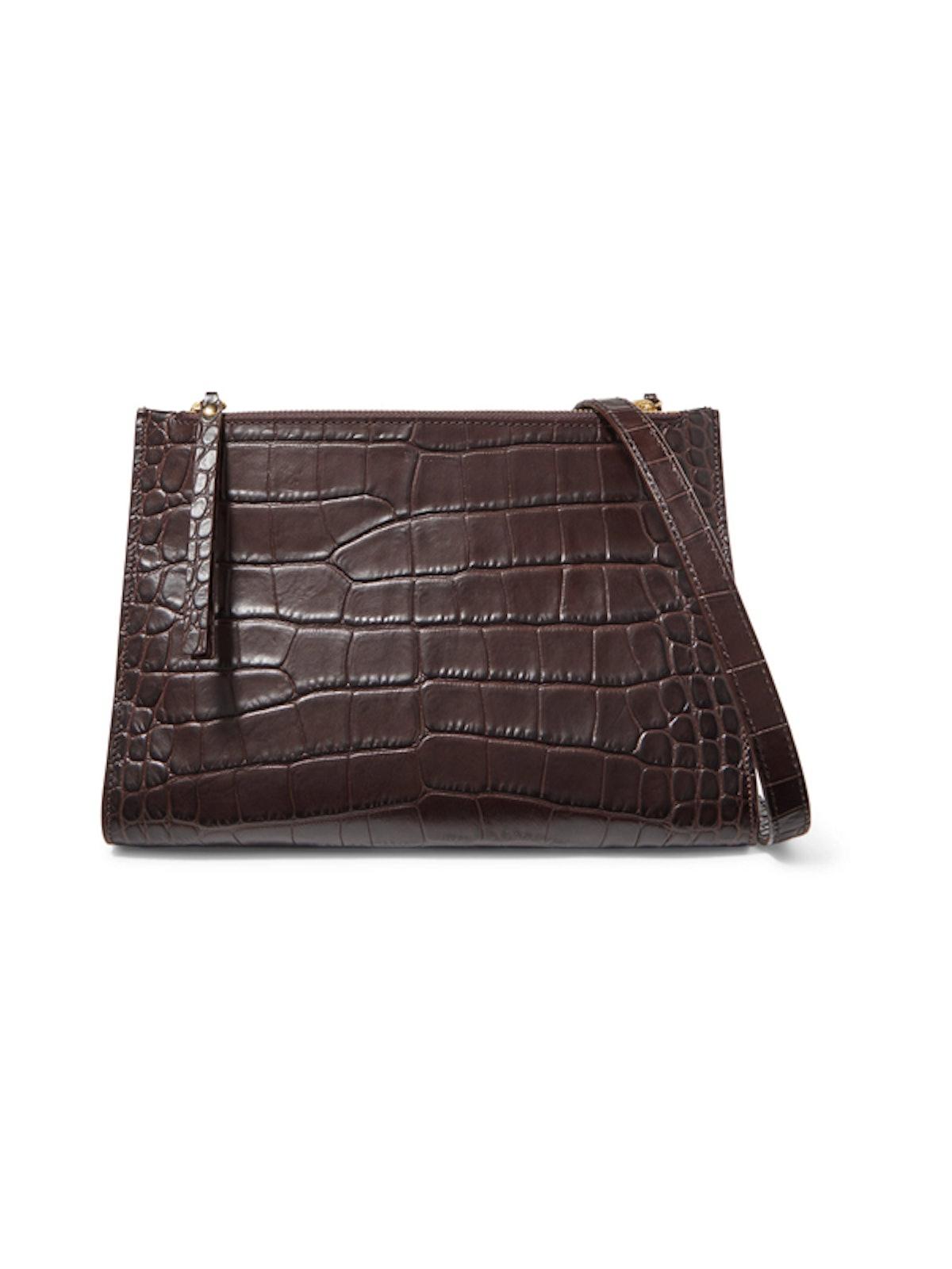 Izabel Croc-Effect Leather Shoulder Bag