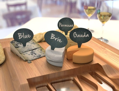 Cheese Marker Gift Set of 4 Cheese Labels & 2 Chalk Markers