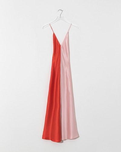 Lee Matthews Sierra Contrast Silk Satin Slip Dress