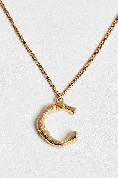 Initial Pendant Statement Necklace - C