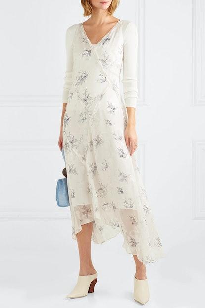 Ruffled Floral-Print Fil Coupé Georgette Midi Dress