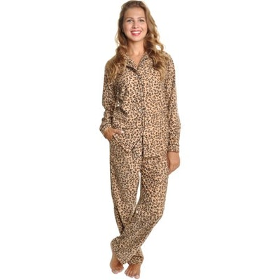 Angelina Brown Leopard Fleece Long Sleeve Pajama Set w/ Long PJs Pants Sleepwear