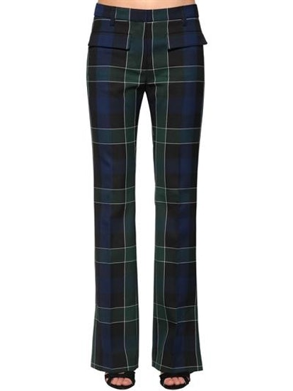 Flared Plaid Stretch Techno Pants