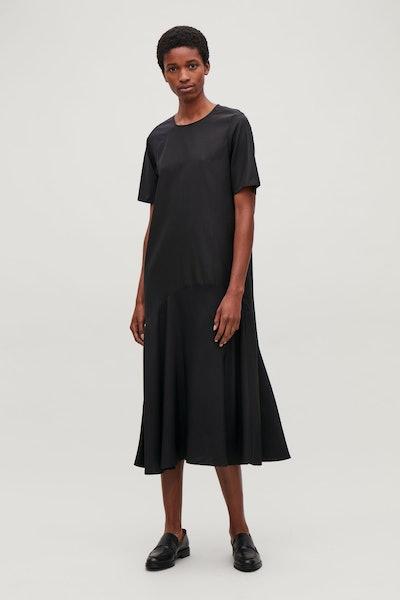 Silk-Panelled Long Dress