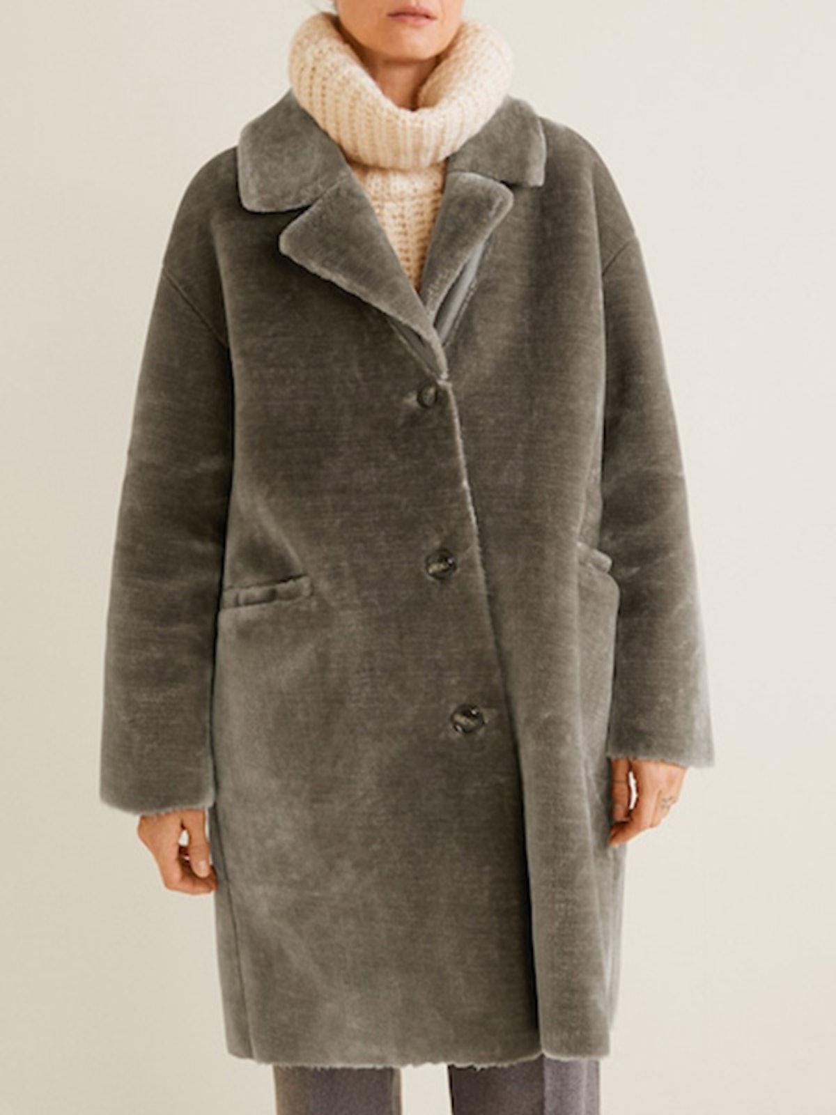Lapels Faux Fur Coat