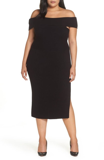 Eliza J Off the Shoulder Midi Sweater Dress