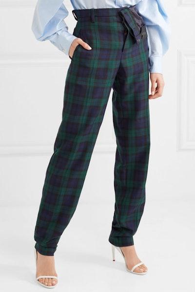 Asymmetric Plaid Twill Straight-Leg Pants