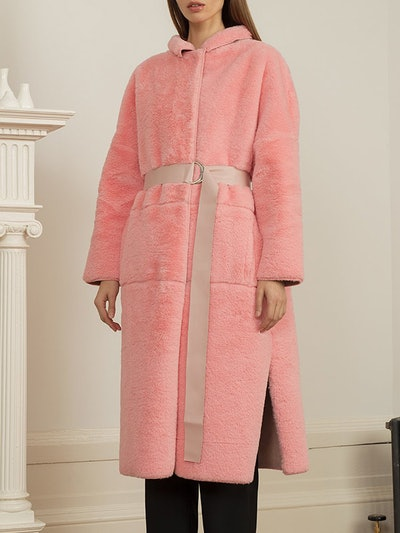 Long Pink Faux Fur Coat