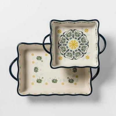 2pk Stoneware Indo with Scallop Bakeware Set - Opalhouse