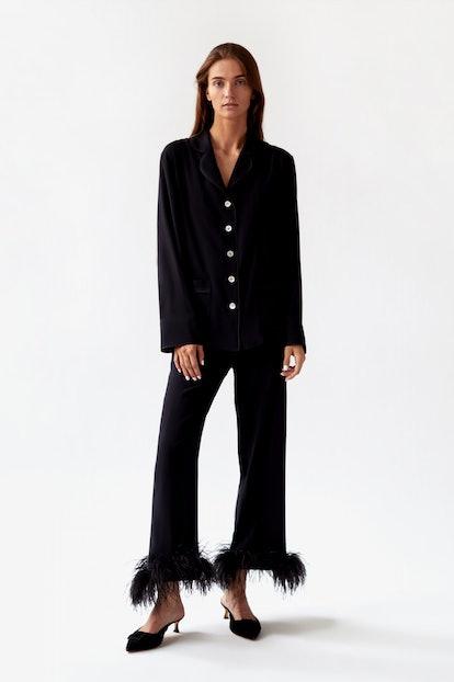 Black Pajama Black Tie Set