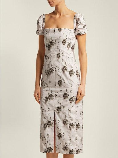 Odilia Floral-Print Panelled Midi Dress