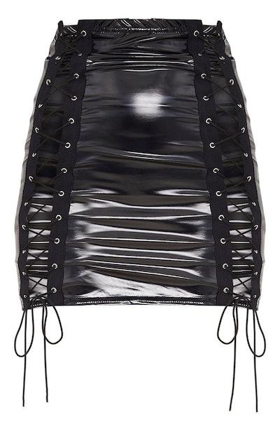 Black Vinyl Double Lace Up Skirt