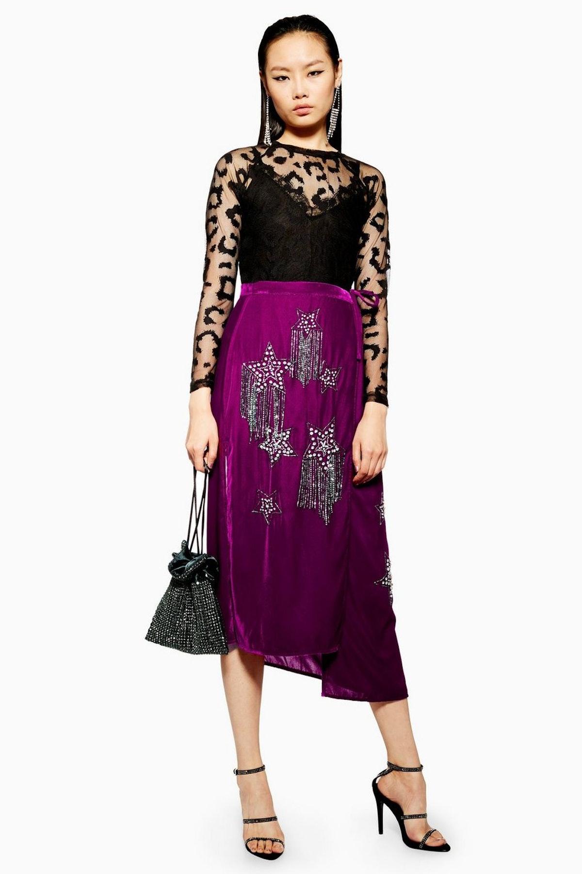 Embellished Velvet Midi Skirt