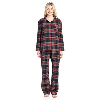 Ashford & Brooks Women's Flannel Plaid Pajamas Long Pj Set