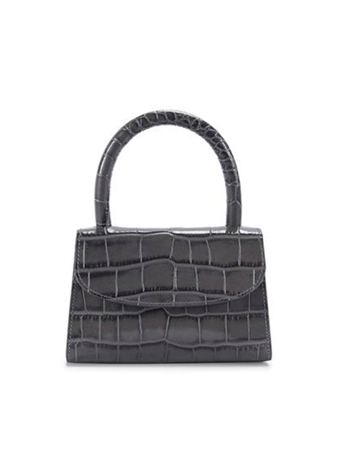 Mini Dark Grey Croco Embossed Leather