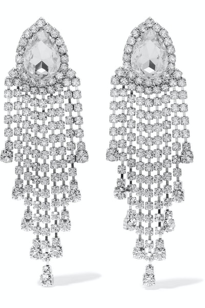 Silver-Tone Crystal Clip Earrings